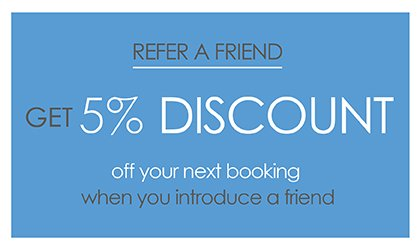Introduce a friend to Arendoo and get 5% off your next booking